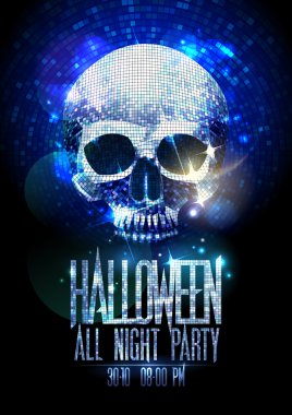 Fashion halloween party poster with silver sparkles skull, shiny headline