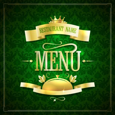 Dark green with gold restaurant menu design with ribbons  against chic dark green backdrop