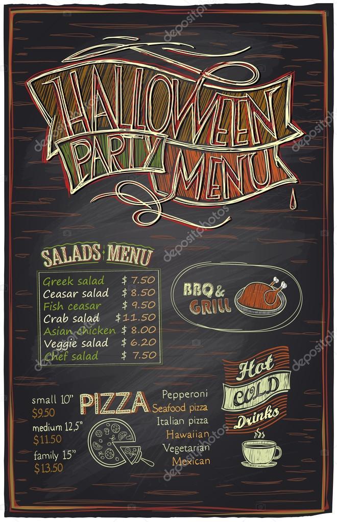 chalkboard halloween party menu stock vector slena 125053448