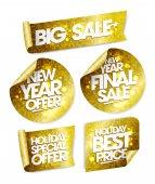 Photo Golden stickers big sale, new year offer, new year final sale, holiday special offer, holiday best price