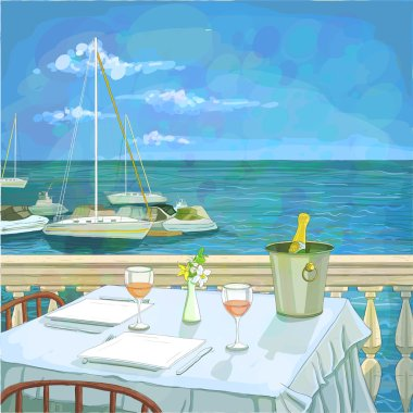Hand drawn illustration with served restaurant table for two against seascape