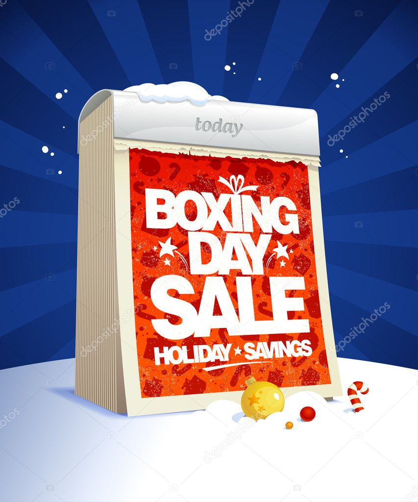 Boxing day sale design with tear-off calendar, winter holiday savings