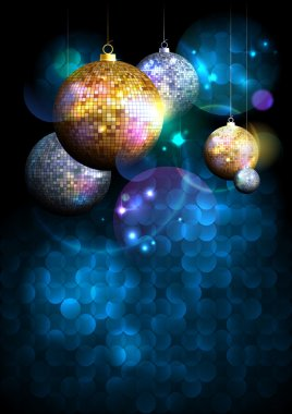 Christmas disco balls background with copy space for text, party concept, invitation