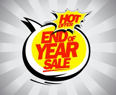 End of year sale, hot offer pop-art design