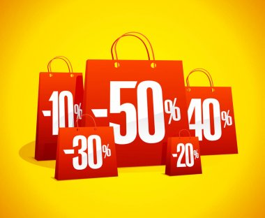 Discounts sale banner with red paper shopping bags against vibrant yellow backdrop