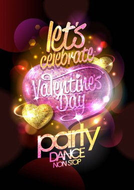 Valentines day party, dance non stop, bright design concept with pink mosaic heart