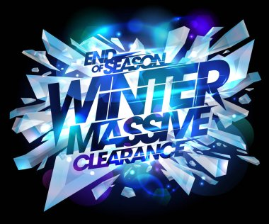 Winter massive clearance sale design, end of season advertising banner