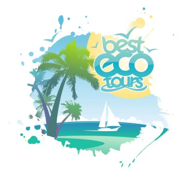 Best eco tours poster in form of blot with tropical ocean, palms and yacht