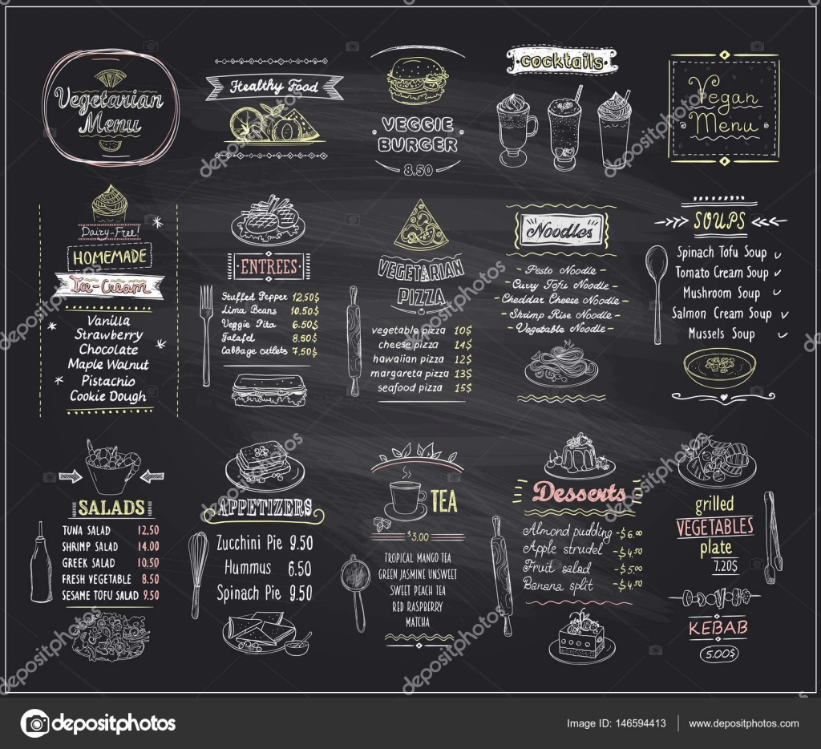 vegetarian and vegan food chalkboard design set hand drawn line