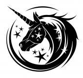 Photo Unicorn head circle tattoo illustration