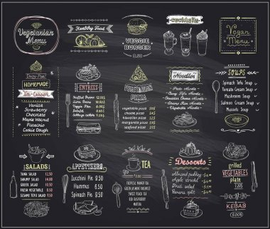 Vegetarian and vegan food chalkboard design set, hand drawn line graphic illustration