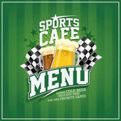 Sports cafe menu with beer mugs and checkered flags