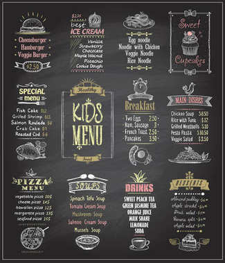 Kids menu chalkboard designs set.