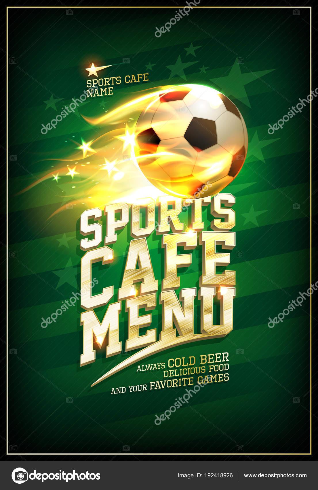 Tarjeta de menú cafetería deportiva con balón de fútbol en una llama  ardiente — Vector de ... dea0ee4bc8bda