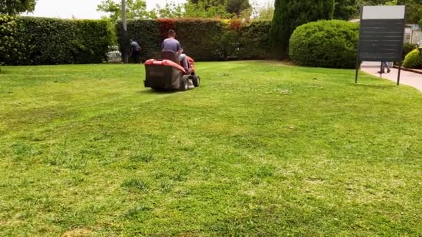 Sekačky na trávu s maskou sekají trávu zeleným trávníkem s trávou.Pracovník s maskou jezdící na průmyslové sekačce a sekající trávu v parku