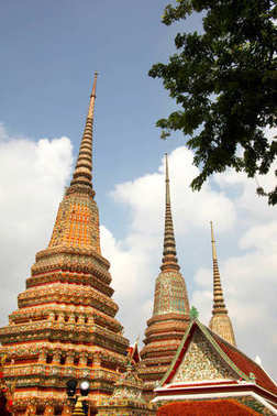 Golden stupa's of Wat Pho, or Wat Po, the Buddhist temple in the Phra Nakhon District, Bangkok, Thailand.