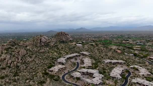 Aerial view of luxury villas and mountain, Scottsdale