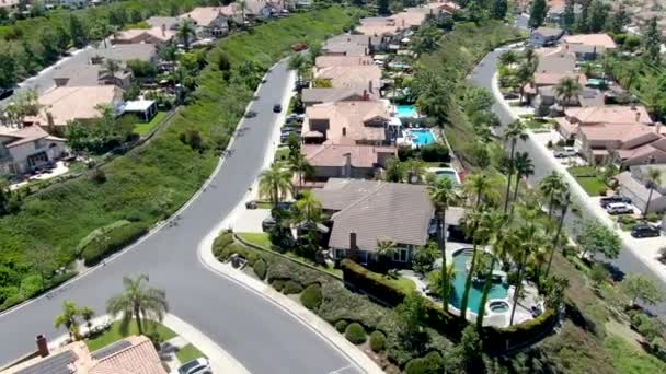 Aerial view of master-planned private communities with big villas with swimming pool, Mission Viejo.