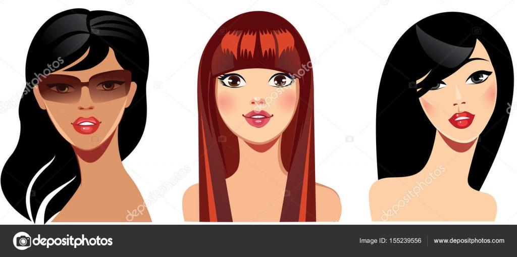 Vector Portraits Of Face Girls For Avatar, Red, Brunette