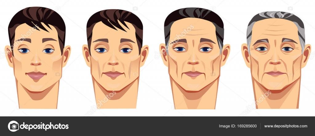 人生若い男中年の男老人の異なる期間で顔ベクトル図では異なる