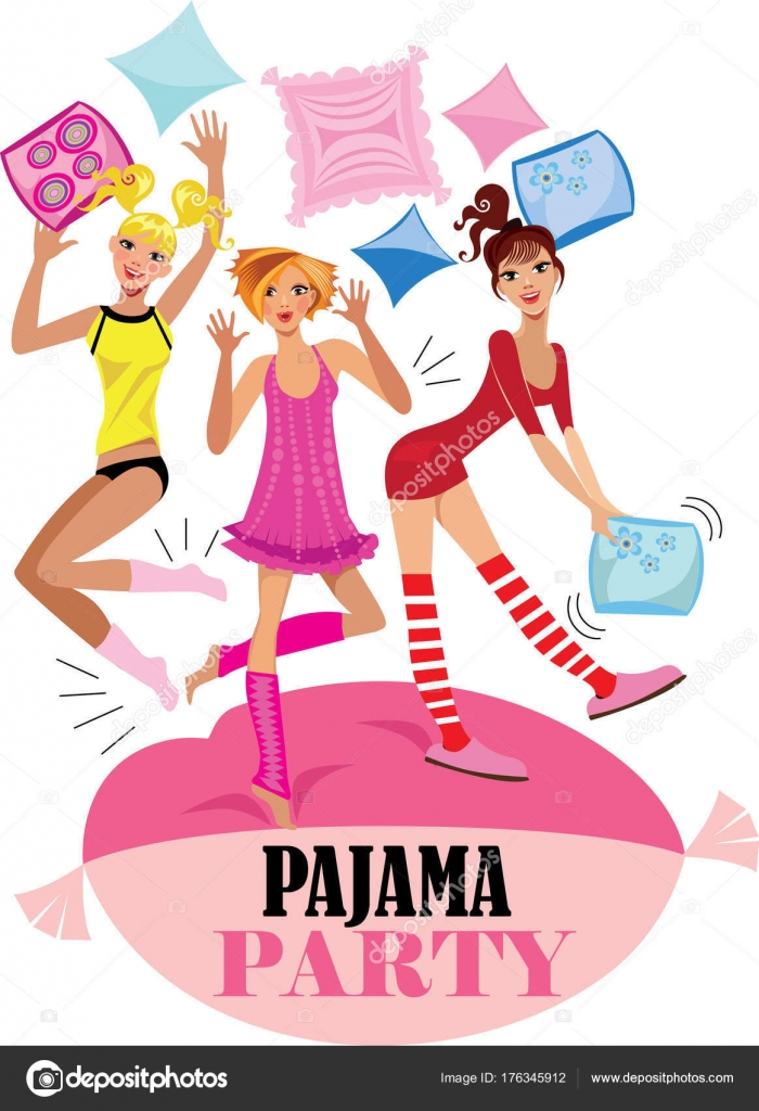 Funny girs pajama party vector design poster party invitation funny girs pajama party vector design poster party invitation stock vector stopboris Images