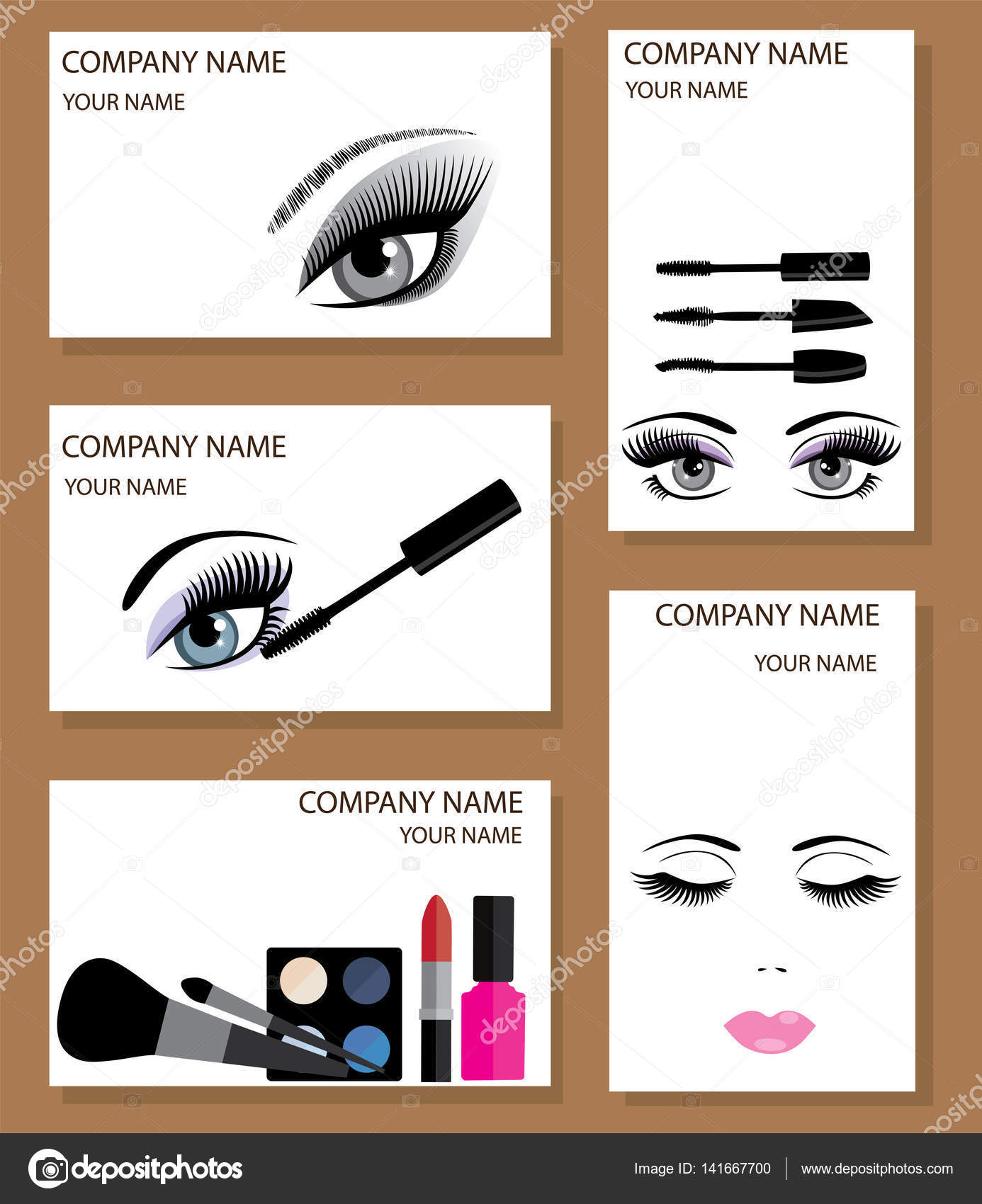 Vector Make Up Business Cards Stock Vector C Lilac Design 141667700