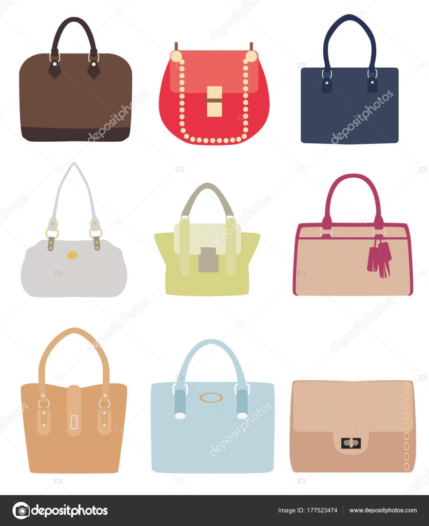 6dfac458e9 Vector illustration of ladies handbags different styles isolated on white  background. — Vector by lilac-design