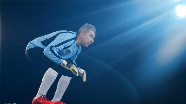 Futball kapus Ugrás a fekete háttér