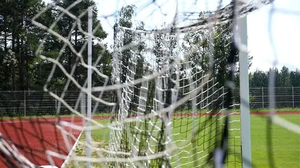 Zpomalený pohyb fotbal fotbal míč gól do sítě