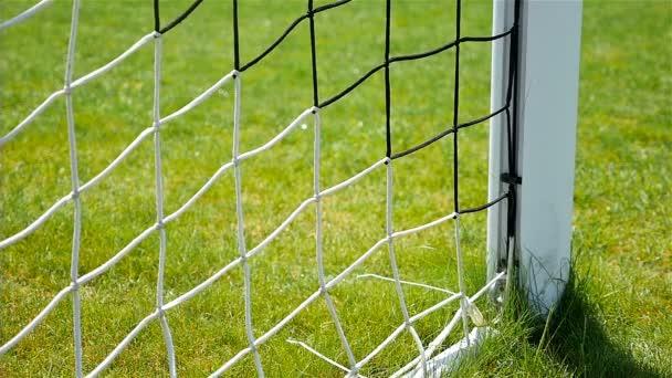 Zeitlupe des Fußballtores ins Netz