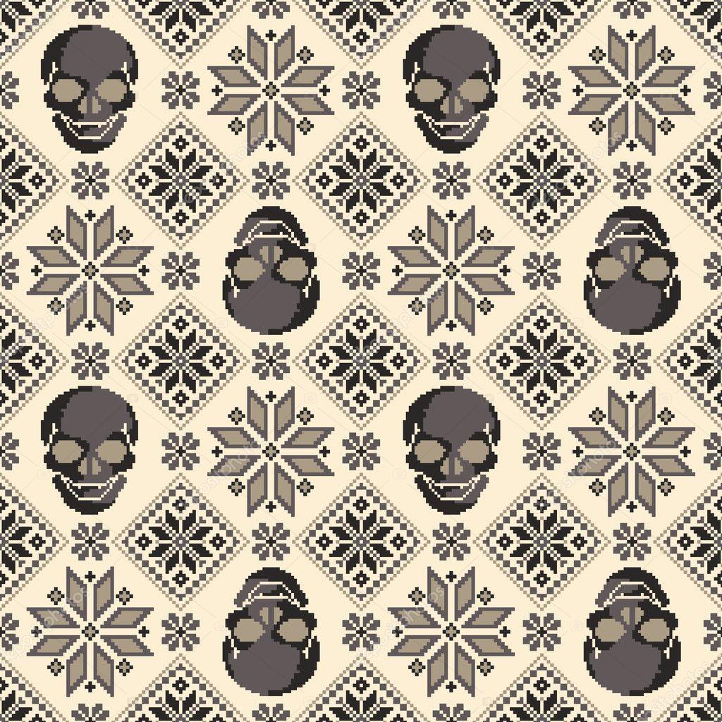 Patrón nórdico y cráneo — Archivo Imágenes Vectoriales ...