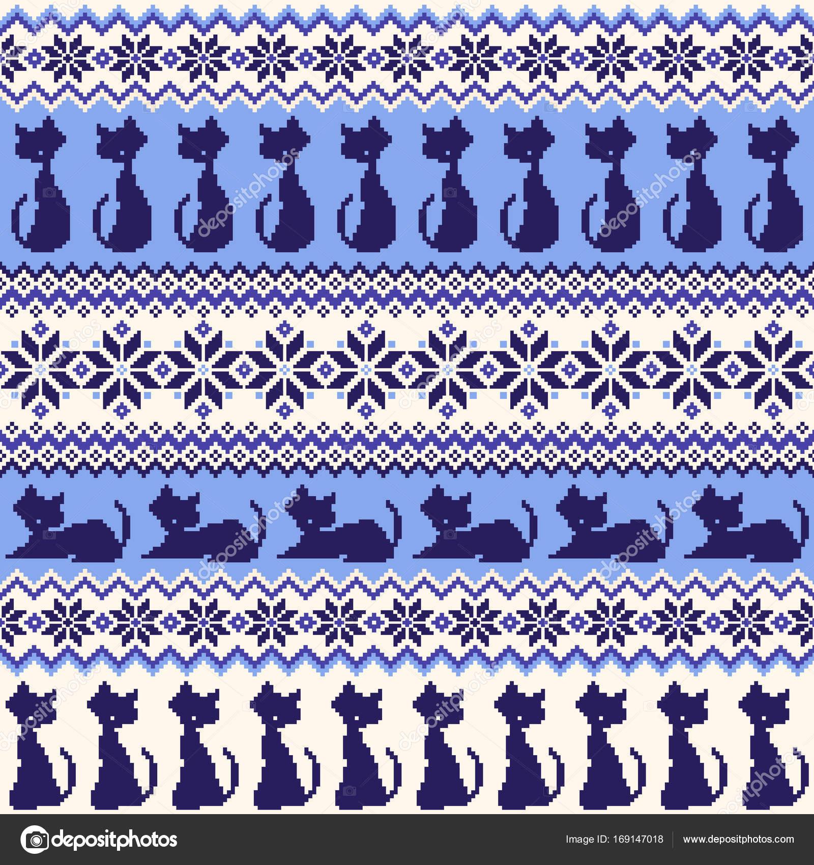 Ilustración de gato patrón nórdico — Archivo Imágenes Vectoriales ...