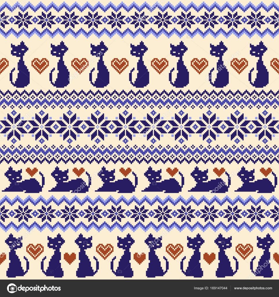 Ilustración de gato patrón nórdico — Vector de stock © daicokuebisu ...