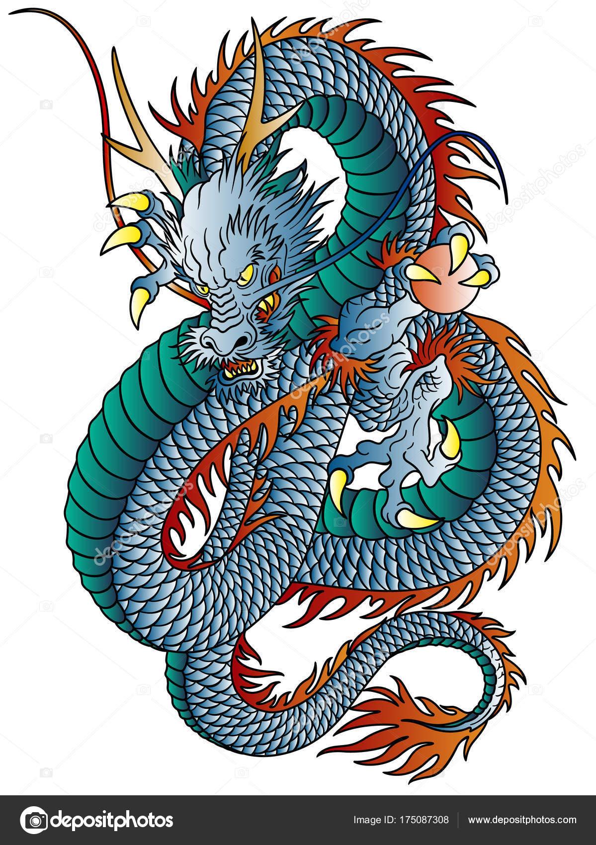 Illustration dragon style japonais con u dragon oriental une uvre vecteur image vectorielle - Dragon japonais ...