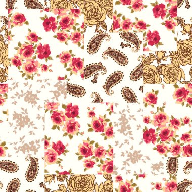 Patchwork of a flower and the paisley,I made patchwork with floral design and paisleyI continue seamlessly,I worked in vectors,