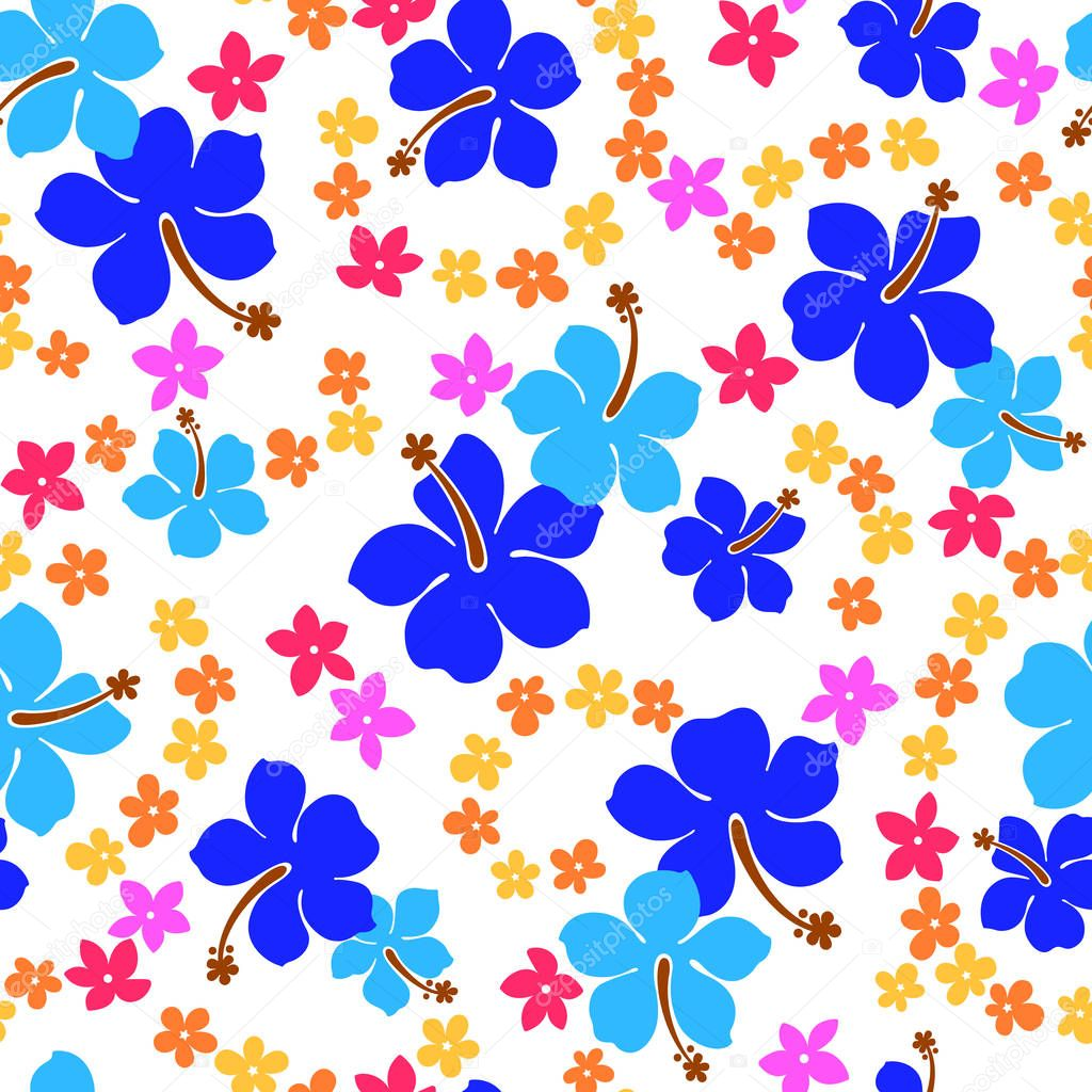 Hibiscus flower pattern,I drew Hibiscus for designing it,This painting continues repeatedly,It is a vector work