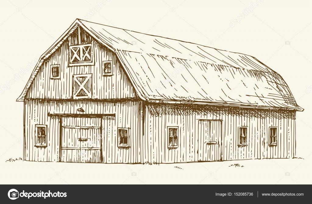 Old Barn Hand Drawn Illustration Vector By Canicula