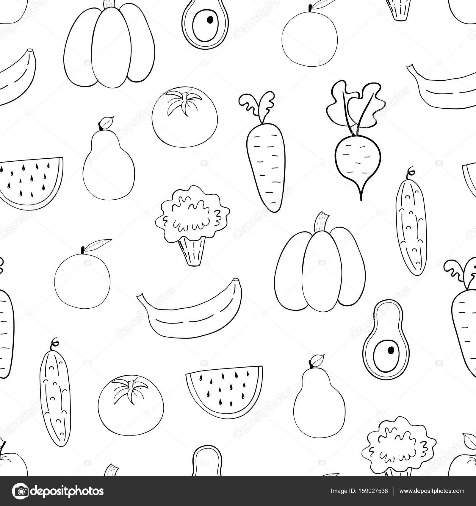 Dibujos: fruta y verduras para colorear | Patrón transparente de