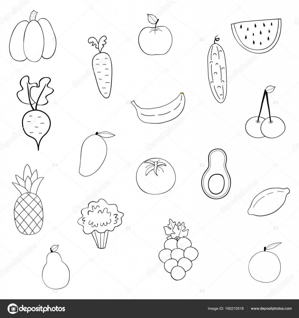 Imágenes: conjunto de frutas para colorear | conjunto de frutas y