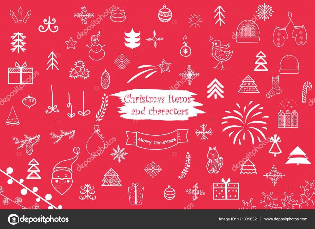 Immagini Carine Per Natale.Personaggi E Cose Carine Di Natale Vettoriali Stock