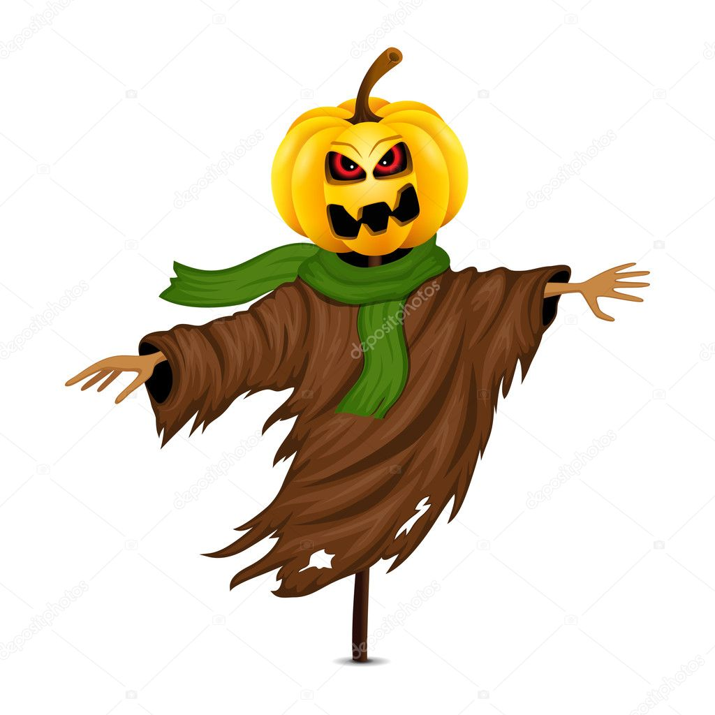 Scarecrow For Halloween Isolated Stock Vector