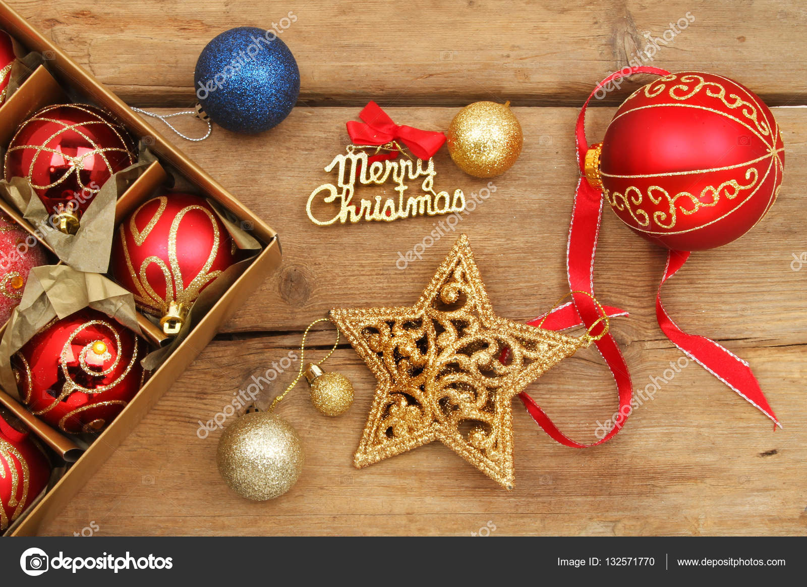 Christmas decorations on old rustic wood — Stock Photo © griffin024 ...