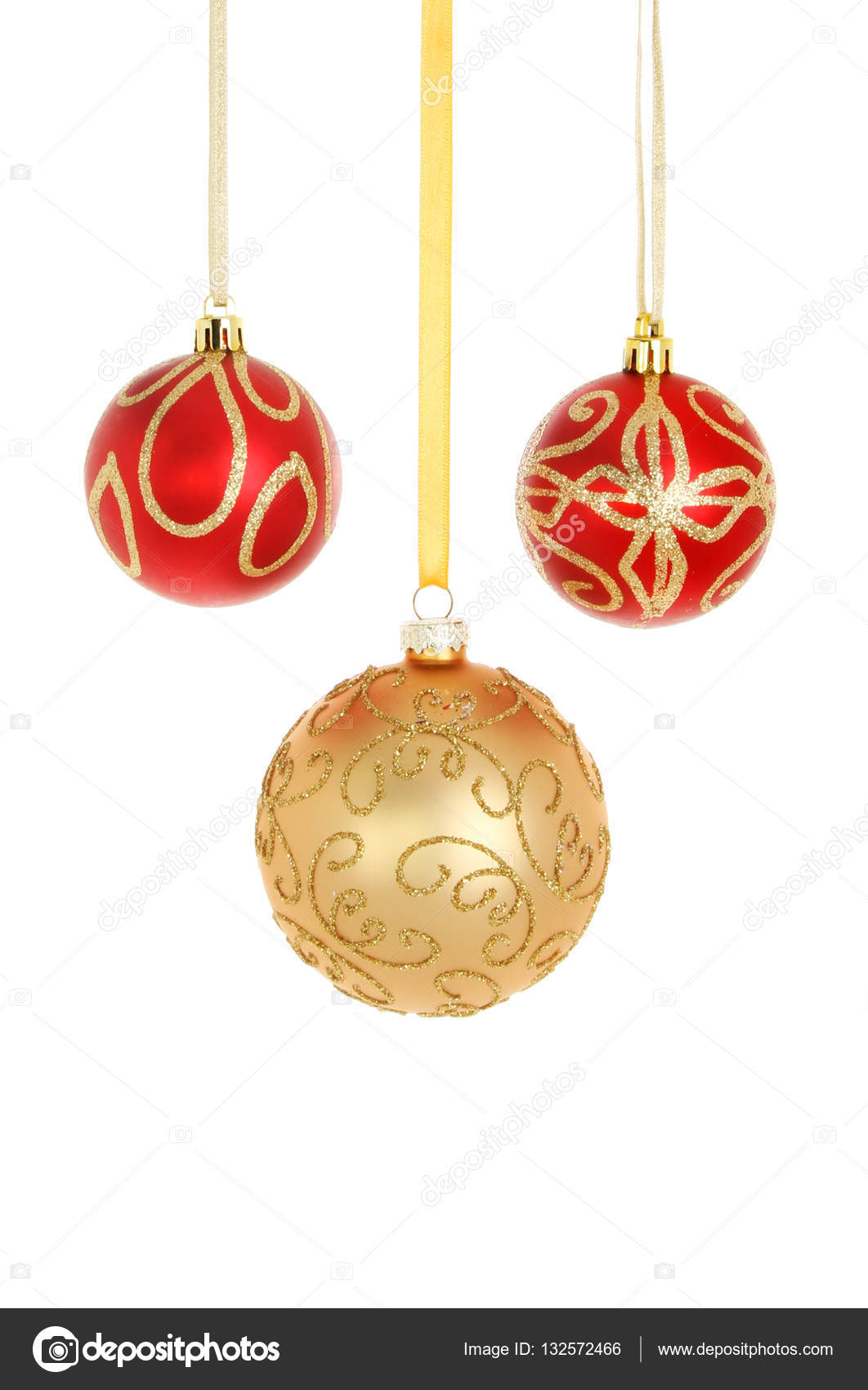 2fc1268963cb Three red and gold glitter Christmas bauble decorations isolated against  white — Photo by ...