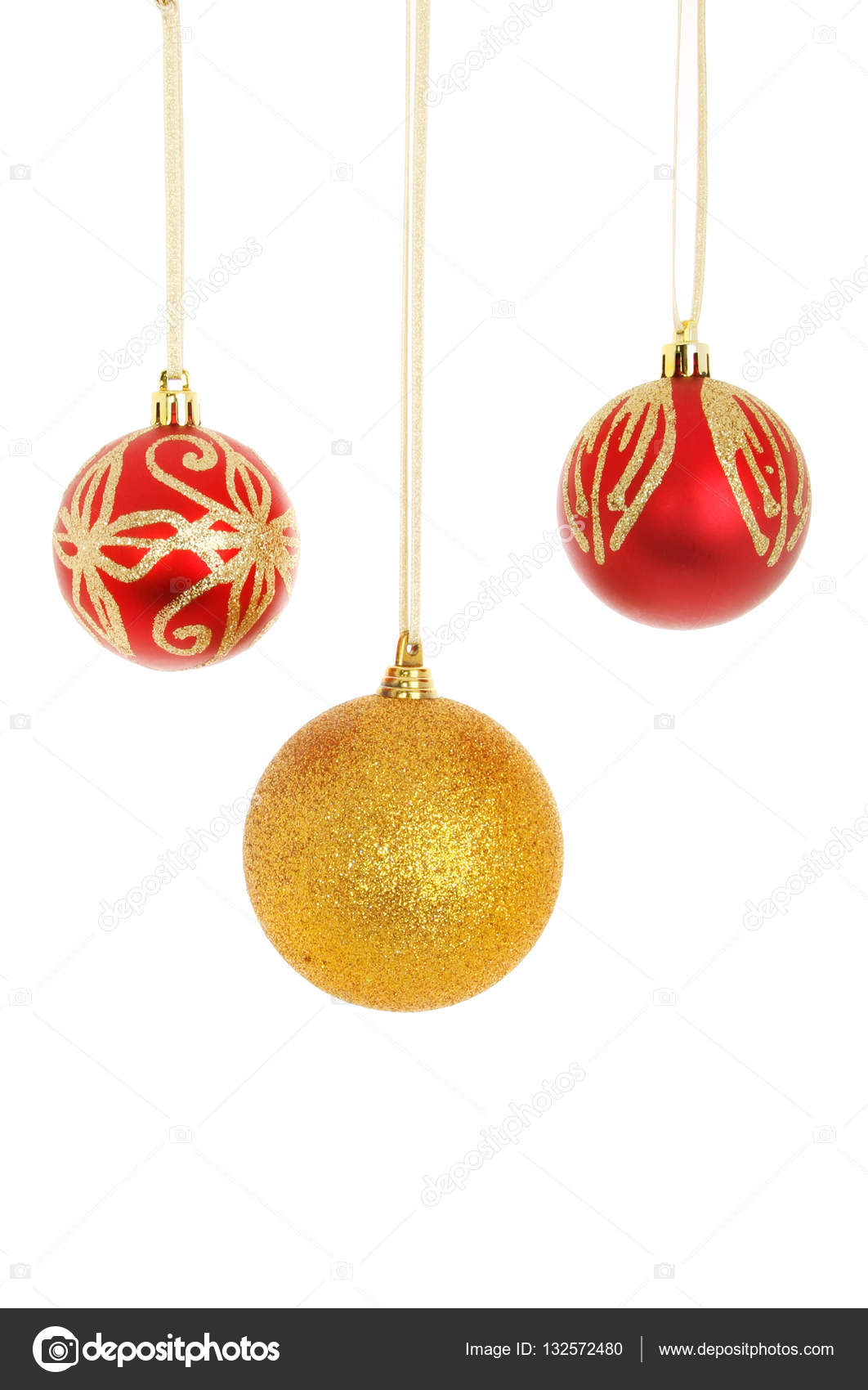 ccdd2d276eba Three red and gold glitter Christmas baubles isolated against white — Photo  by ...
