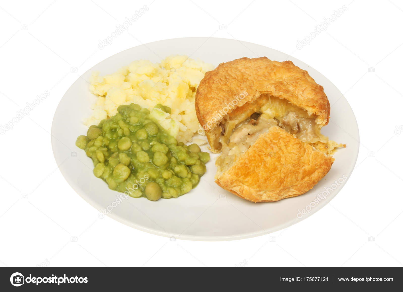 Chicken and mushroom pie with mashed potato and mushy peas on a plate isolated against white \u2014 Photo by griffin024  sc 1 st  Depositphotos & Chicken pie and veg \u2014 Stock Photo © griffin024 #175677124
