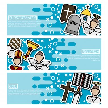 Set of Horizontal Banners about Christianity . Vector illustration EPS 10 stock vector