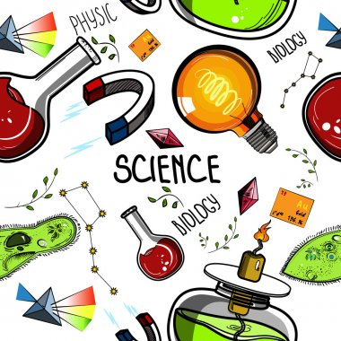 Colored Hand drawn science pattern