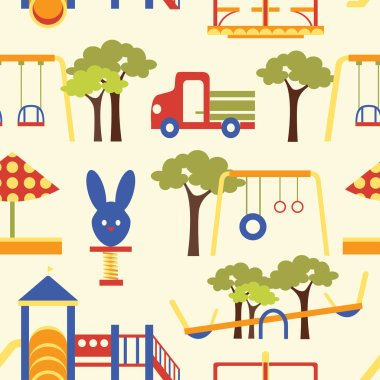 Icons set of playground equipments pattern