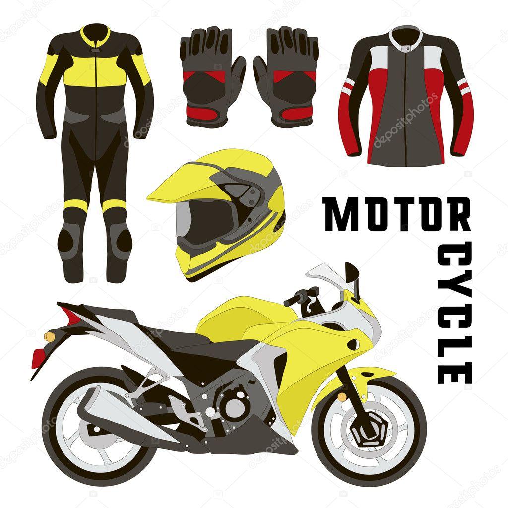 7559606b6be Vector conjunto de accesorios de motos — Vector de stock © Netkoff ...