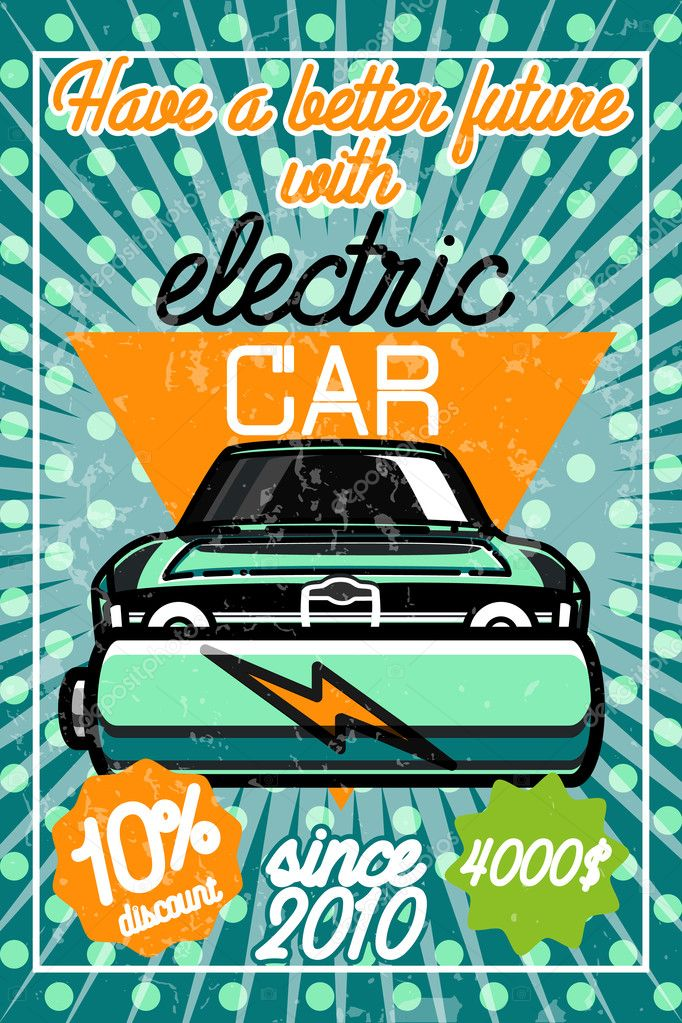 Kleur Vintage Elektrische Auto Poster Stockvector C Netkoff 127821048